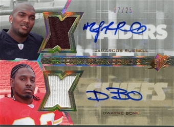 2007 SPx Freshman Tandems Dual Jerseys Autographs #FT2RB JaMarcus Russell Dwayne Bowe /25