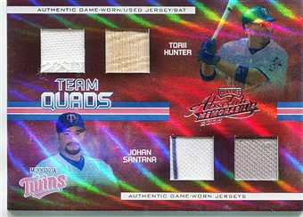 2005 Absolute Memorabilia Team Quad Jersey Bat Hunter Santana Stewart Jones 1/10