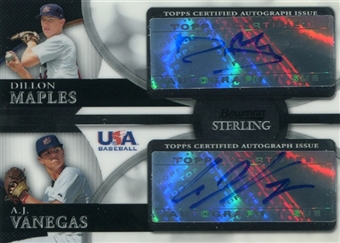 2010 Bowman Sterling USA Baseball Dual Autographs #BSDA6 Dillon Maples A.J. Vanegas