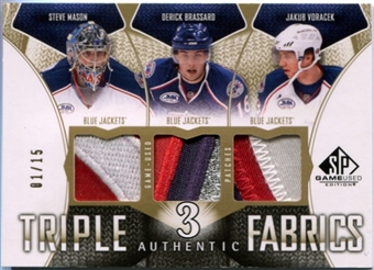 2009/10 SP Game Used Triples Patch #AF3BVM D Brassard J Voracek Steve Mason #1/15