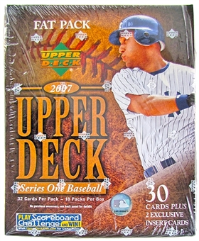 2007 Upper Deck Series 1 Baseball Fat Pack Box (18 Packs)
