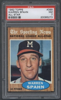 1962 Topps Baseball #399 Warren Spahn All Star PSA 7 (NM) *5273