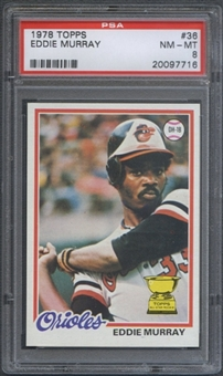 1978 Topps Baseball #36 Eddie Murray Rookie PSA 8 (NM-MT) *7716
