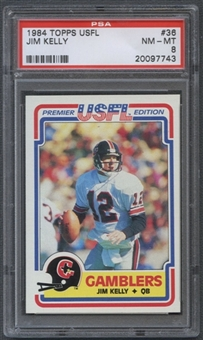 1984 Topps USFL Football #36 Jim Kelly Rookie PSA 8 (NM-MT) *7743