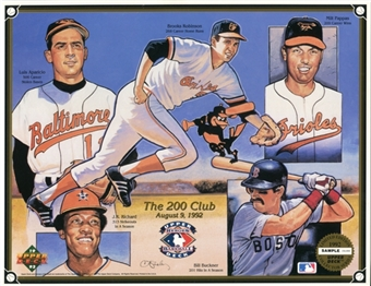 "1992 Upper Deck """"The 200 Club"""" Commemorative Sheet Sample Lot of 10"