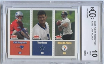 2003 Fleer Tradition Football #299 Tony Romo Rookie Card BCCG 10