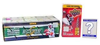 Football Card Collector Package #1 With Mystery Memorabilia or Autograph Card