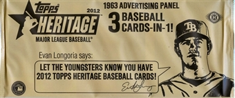 2012 Topps Heritage Baseball Hobby 1963 Advertising Panel Topper Pack