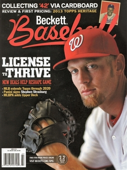 2013 Beckett Baseball Monthly Price Guide (#867 June) (Strasburg)