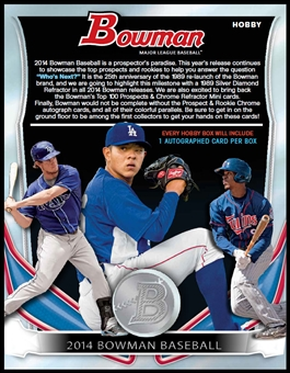 2014 Bowman Baseball Hobby 12-Box Case (Presell)