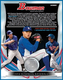 2014 Bowman Baseball Jumbo 8-Box Case (due April)