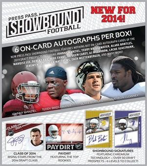 2014 Press Pass Showbound Football Hobby 10-Box Case