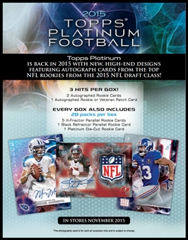 2015 Topps Platinum Football Hobby Box (Presell)