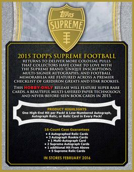 2015 Topps Supreme Football Hobby 16-Box Case (Presell)