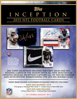 2015 Topps Inception Football Hobby Box (Presell)