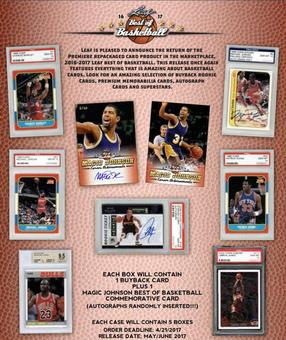 2016/17 Leaf Best Of Basketball Hobby Box (Presell)