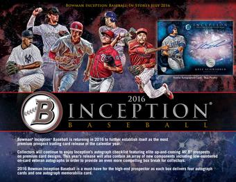 2016 Bowman Inception Baseball Hobby Box (Presell)