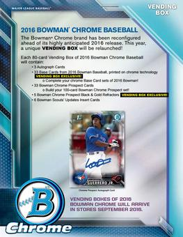 2016 Bowman Chrome Baseball HTA Vending Box (Presell)