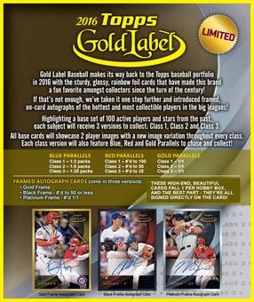 2016 Topps Gold Label Baseball Hobby 16-Box Case DACW Live 26 Team Random Group Break #1