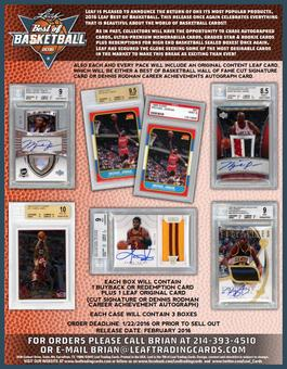 2015/16 Leaf Best Of Basketball Hobby Box (Presell)