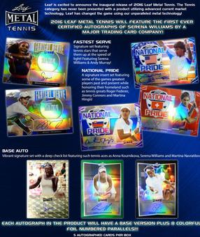 2016 Leaf Metal Tennis Hobby 12-Box Case (Presell)