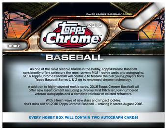 2016 Topps Chrome Baseball Hobby Box (Presell)