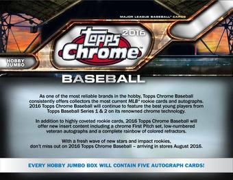 2016 Topps Chrome Baseball Hobby Jumbo Box (Presell)