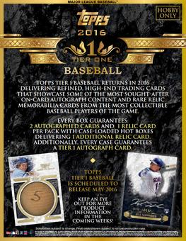 2016 Topps Tier One Baseball Hobby 12-Box Case (Presell)
