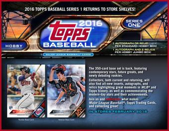 2016 Topps Series 1 Baseball Jumbo 6-Box Case (Presell)