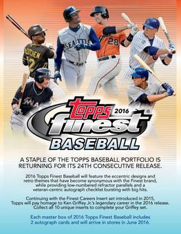 2016 Topps Finest Baseball Hobby 8-Box Case (Presell)