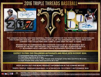 2016 Topps Triple Threads Baseball Hobby Box (Presell)