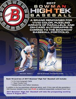 2017 Bowman High Tek Baseball Hobby Box (due August)