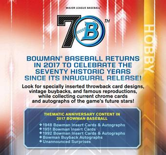 2017 Bowman Baseball Hobby 12-Box Case (Presell)