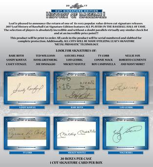 2017 Leaf Cut Signature Edition History Of Baseball Hobby 20-Box Case -DACW Live Random Hit Break #2