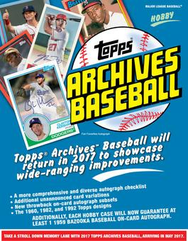2017 Topps Archives Baseball Hobby 10-Box Case (Presell)