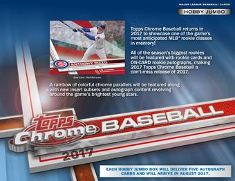 2017 Topps Chrome Baseball Hobby Jumbo Box (Presell)