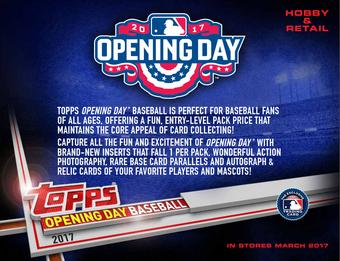 2017 Topps Opening Day Baseball Hobby 20-Box Case (Presell)