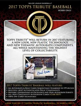 2017 Topps Tribute Baseball Hobby 8-Box Case (Presell)