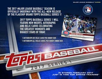 2017 Topps Series 1 Baseball Hobby Jumbo 6-Box Case (PLUS 12 Silver Packs!) (Presell)
