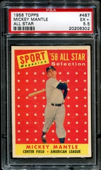 1958 Topps Baseball #487 Mickey Mantle All Star PSA 5.5 (EX+) *6302