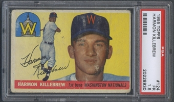 1955 Topps Baseball #124 Harmon Killebrew Rookie PSA 1.5 (FR) *8930