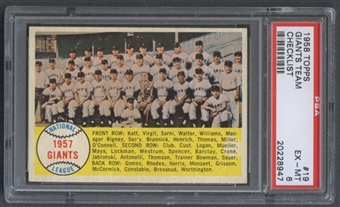 1958 Topps Baseball #19 Giants Team PSA 6 (EX-MT) *8947