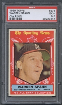 1959 Topps Baseball #571 Warren Spahn All Star PSA 5.5 (EX+) *9247