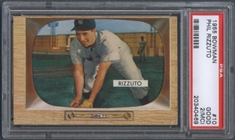 1955 Bowman Baseball #10 Phil Rizzuto PSA 2 (GOOD) (MC) *0469