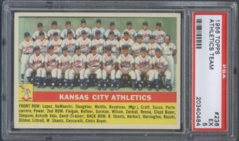 1956 Topps Baseball #236 Kansas City Athletics Team PSA 5 (EX) *0484