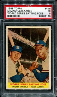 1958 Topps Baseball #418 World Series Batting Foes (Mantle, Aaron) PSA 5 (EX) *9175