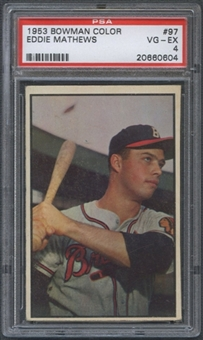 1953 Bowman Color Baseball #97 Ed Mathews PSA 4 (VG-EX) *0604