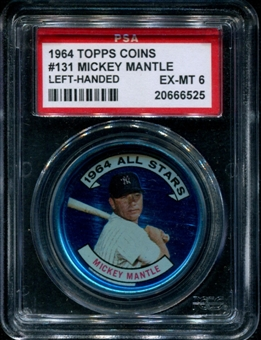 1964 Topps Baseball Coins #131 Mickey Mantle (Right-Handed) PSA 6 (EX-MT) *6525