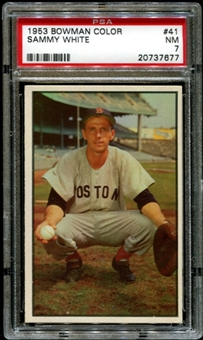1953 Bowman Color Baseball #41 Sammy White PSA 7 (NM) *7677