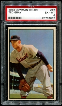 1953 Bowman Color Baseball #72 Ted Gray PSA 6 (EX-MT) *7682